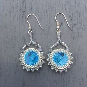 HANDMADE Crystal BLUE Boho Statement Earrings